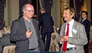 John with Johan Van Hoorde - EFNIL conference dinner Oct 2012