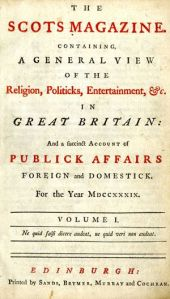 Cover of the Scots Magazine from 1739