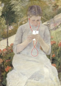 Based on Girl in the Garden, by Mary Cassatt (1880-82). ART X SMART Project by Kim Dong-kyu, 2013.